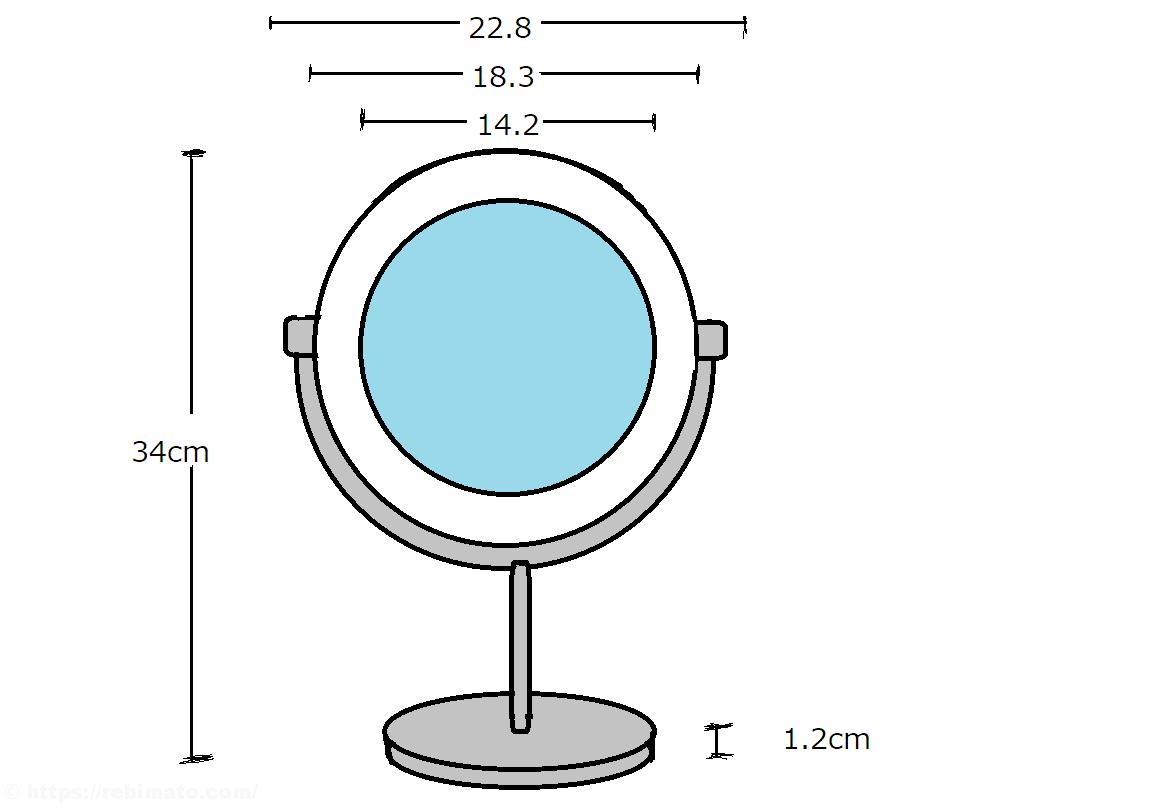 KDKD LEDライト付き化粧鏡 レビュー