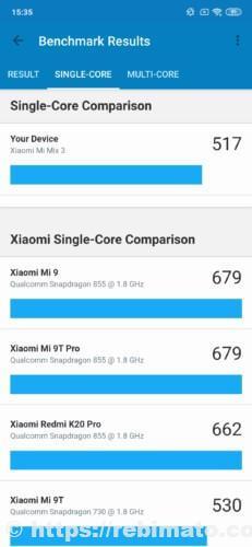 Xiaomi Mi Mix3スマートフォンの性能スコア